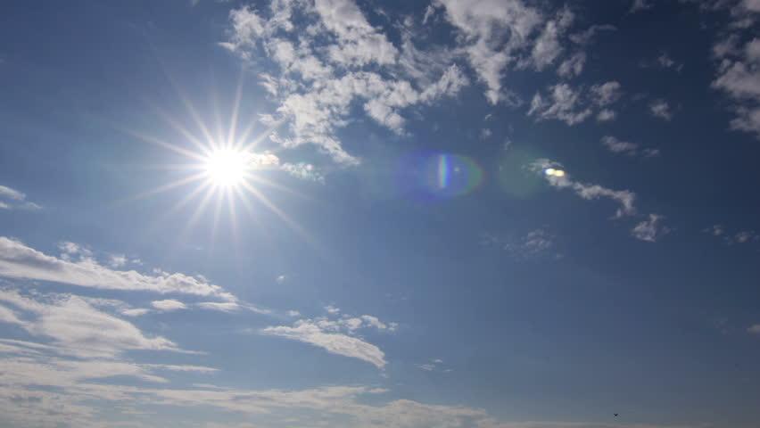 Timelapse Clouds Blue White Sun