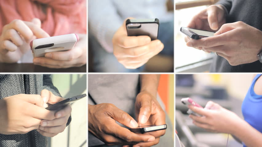 Collage of different people hands texting or typing on smartphones  | Shutterstock HD Video #12711890