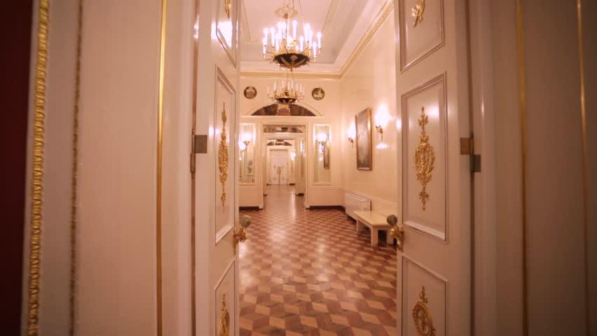 MOSCOW, RUSSIA - NOVEMBER 03, 2015: Walk by empty corridor in Tsaritsyno Grand palace. Tsaritsyno estate is known from 16th century, when it belonged to Tsaritsa Irina, sister of Tsar Boris Godunov.