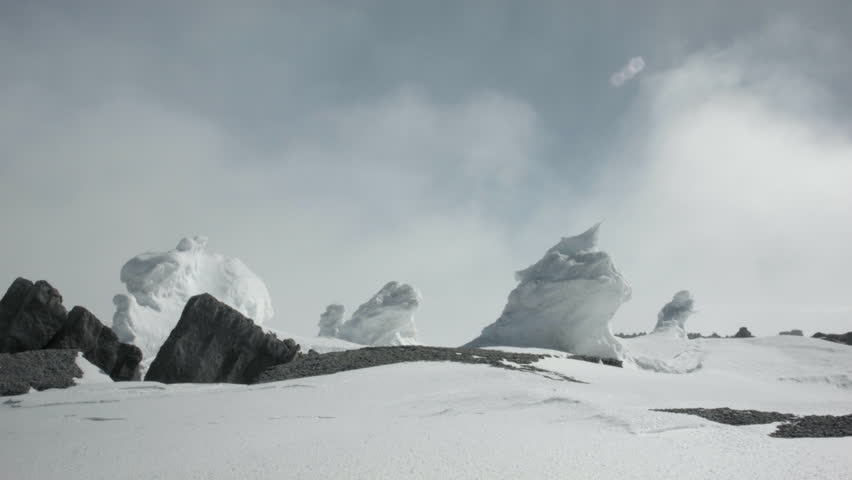 WS View of ice formations in landscape / Mount Erebus, Antarctica