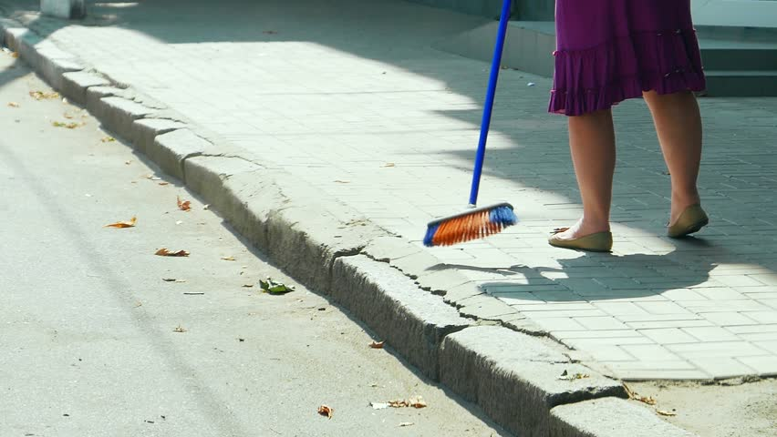 Cleaning The Streets Woman Female Sweeping The Sidewalk