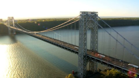 Aerial view of the George Washington Suspension Bridge at Sunset over the Hudson River,  Manhattan, New York, USA