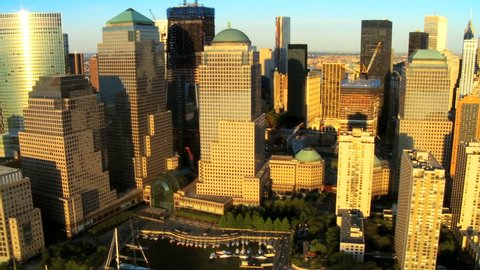 Aerial view of the Financial District Manhattan and Harbor area Manhattan, New York City, North America, USA
