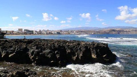 Playa de las Canteras (Las Canteras beach) in Las Palmas de Gran Canarias. Most famous beach in Gran Canaria island.
