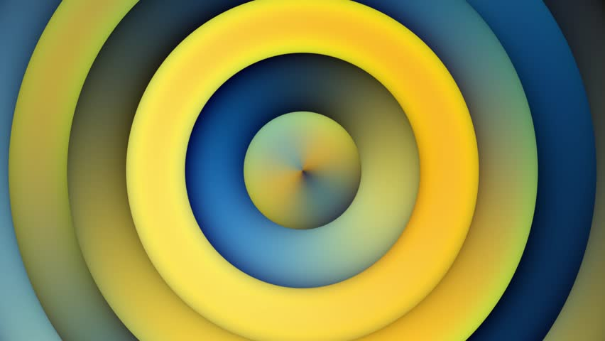 Looping Background Animation With Blue Yellow Gradient Concentric Circles Movement  from Center outside the Frame | Shutterstock HD Video #12795323