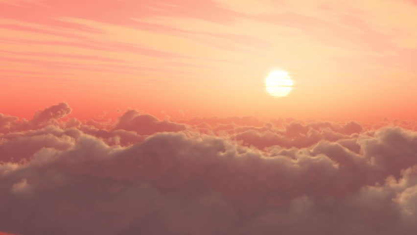 time lapse of sunrise or sunset, above the clouds,Clouds billowing.