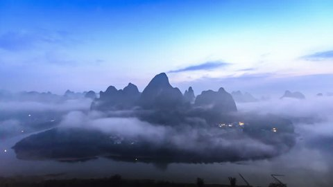 Landscape of Guilin in the early morning, Li River and Karst mountains. Located near The Ancient Town of Xingping, Yangshuo County, Guilin City, Guangxi Province, China.