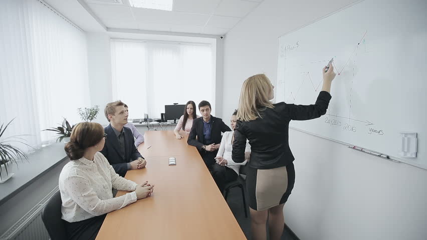 Business people having on presentation at office. Businesswoman presenting on whiteboard   Shutterstock HD Video #12869696