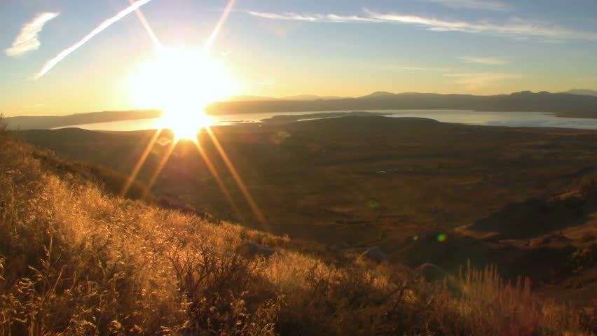 Time lapse footage of sunrise over Mono Lake at scenic view point