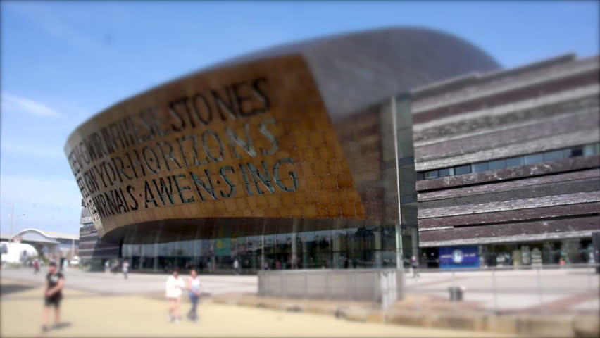 CARDIFF, WALES - CIRCA MAY 2015: The Wales Millennium Centre concert and arts venue in Cardiff Bay.