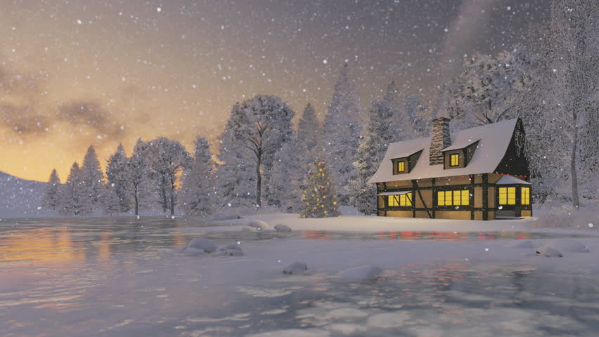 Cozy Rustic House With Smoking Chimney And Decorated Christmas Tree On The