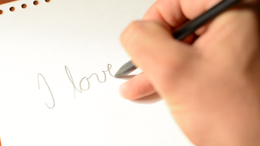 slow motion love letter writing 1080p hd footage - i love you