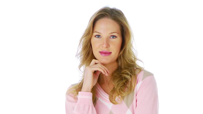 Portrait of woman in pink sweater