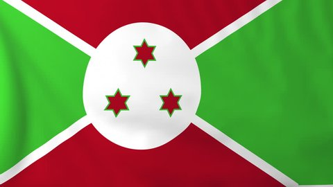 Flag of Burundi, slow motion waving. Rendered using official design and colors. Highly detailed fabric texture. Seamless loop in full 4K resolution. ProRes 422 codec.