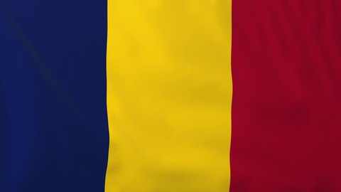 Flag of Chad, slow motion waving. Rendered using official design and colors. Highly detailed fabric texture. Seamless loop in full 4K resolution. ProRes 422 codec.