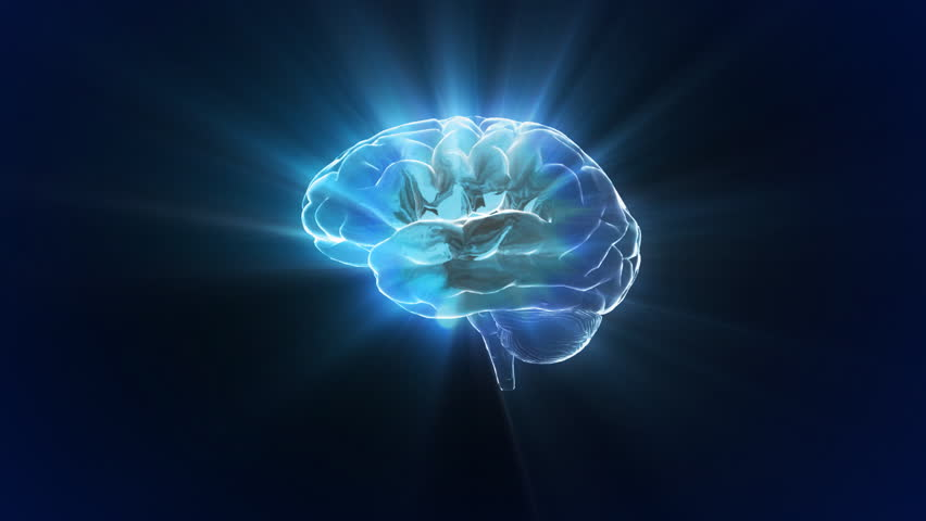 brain glow flare for the concept of thinking, education, medical use.