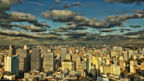 Sao Paulo Brazil skyline sunset time lapse