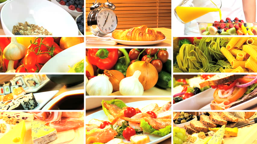 Cooking and eating italian spaghetti montage stock footage video montage collection showing three healthy daily meals for modern lifestyle eating hd stock footage clip forumfinder Image collections