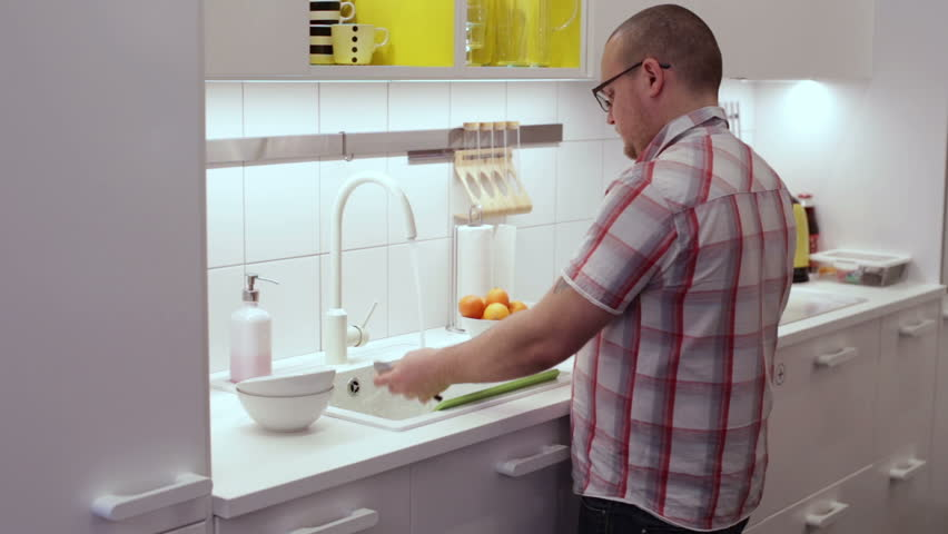 Kitchen Sink With Clean Dishes
