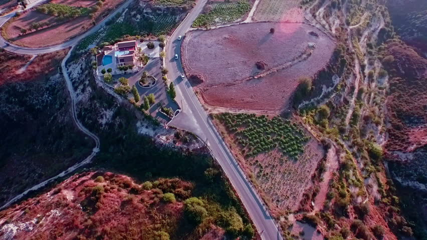 Aerial footage: Flying over the countryside road near Kathikas, Paphos District, Cyprus