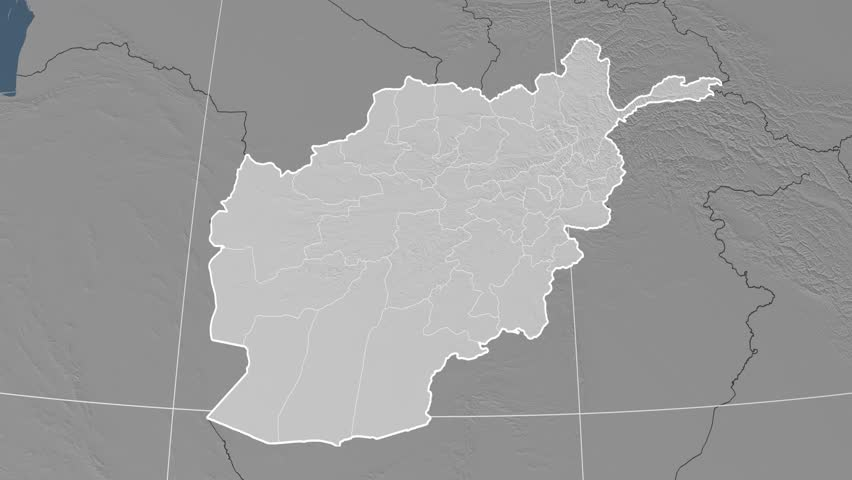 Kabul Province Extruded On The Elevation Map Of Afghanistan
