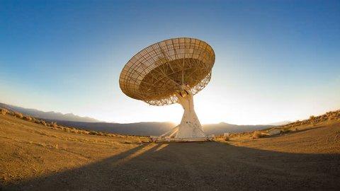 Massive Satellite Dish Sunrise Sunset Timelapse Sky