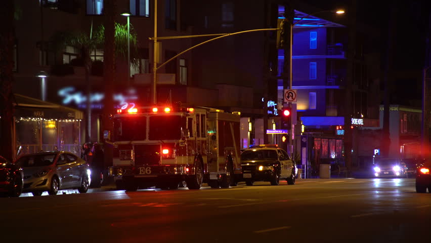 Los Angeles CIRCA 2015 Police Car Lights 05 Fire EngineStreet At Night