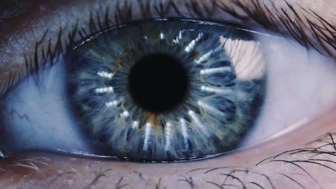 Eye iris and pupil macro. Reflected moving light rays into the human eye with zoom. Color correction. Closeup