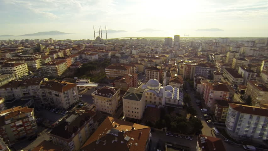 Aerial Istanbul City. Drone flying over Maltepe Region, Turkey. 