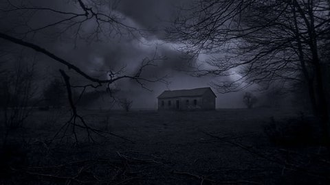 Abandoned horror house in the middle of deep dark spooky forest