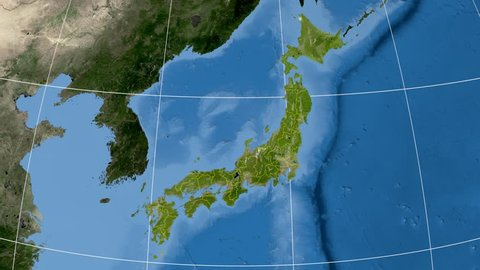 Kochi prefecture extruded on the satellite map of Japan. Elements of this image furnished by NASA