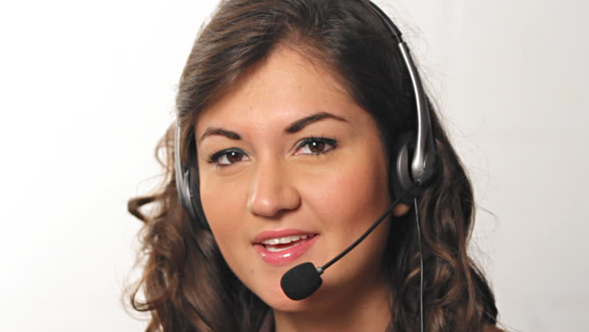 Pretty hispanic customer service worker with headset