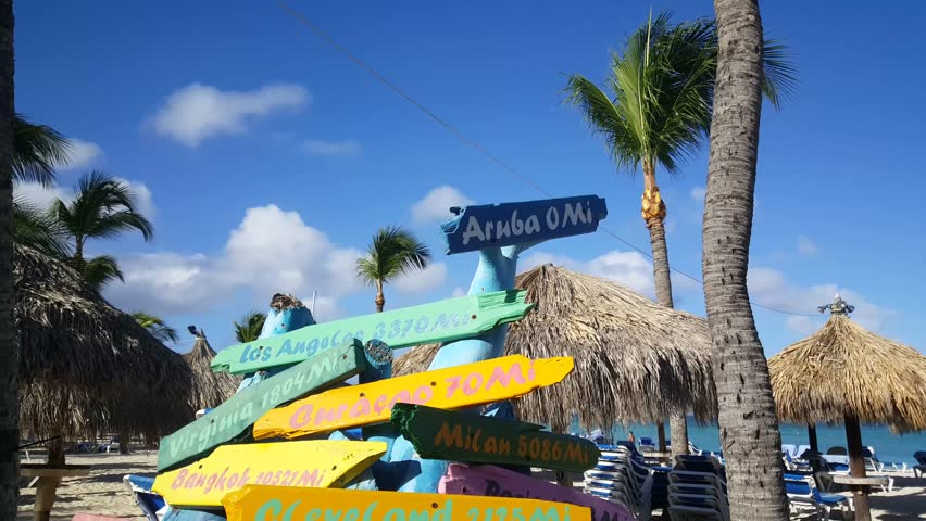 Tilt down to signs from places around the world with miles aways from Aruba