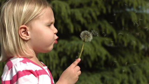 Cinemagraph - Young girl making a wish. Looping Motion Photo.
