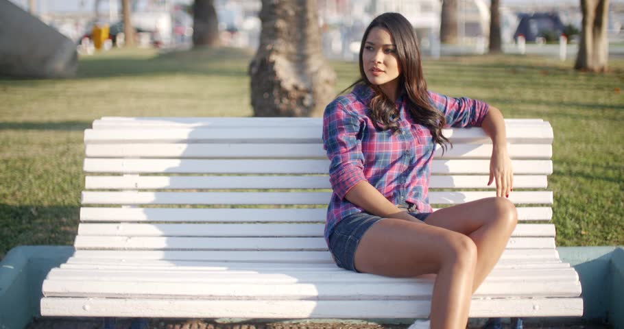 Girl sitting on a bench, free ameature threesome video