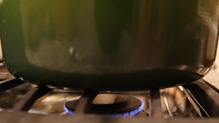 Restaurant Kitchen Gas Stove gas stove burning in restaurant kitchen stock footage video
