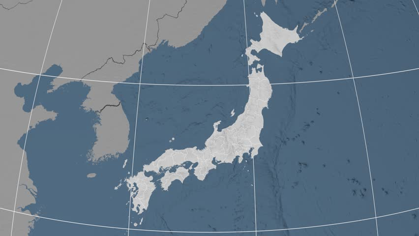 Toyama prefecture extruded on the elevation map of Japan. Elevation data on solid colors. Elements of this image furnished by NASA. | Shutterstock HD Video #13116413