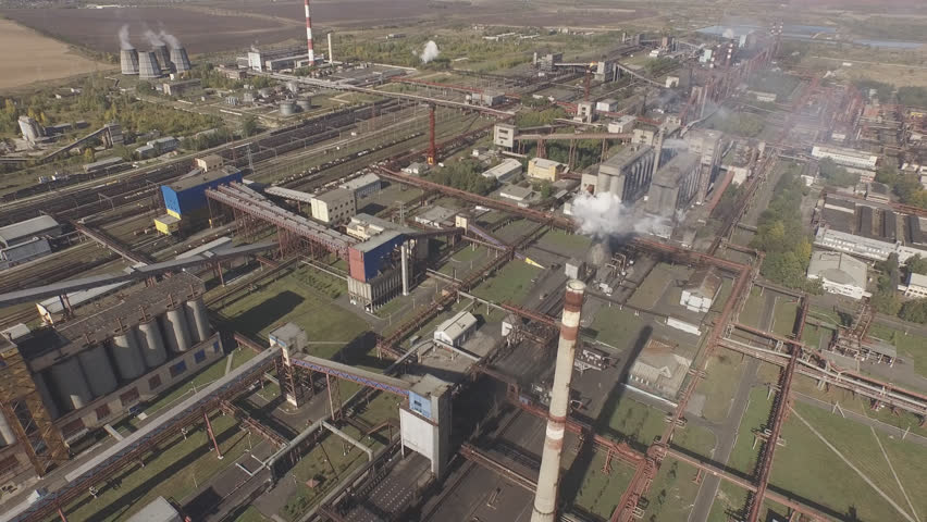 Editorial September 19, 2015 Altai, Russia. Aerial view of industrial infrastructure, at