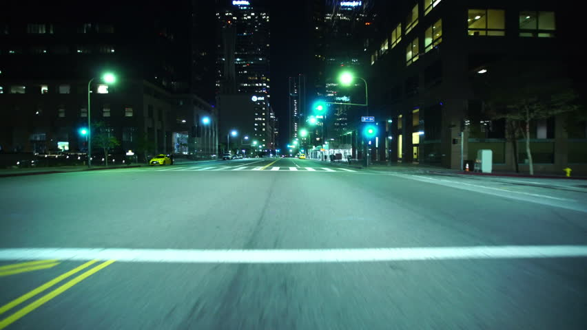 Driving Plates LA Downtown Grand Ave Night 02 Front View South bound at 3rd to 6th St