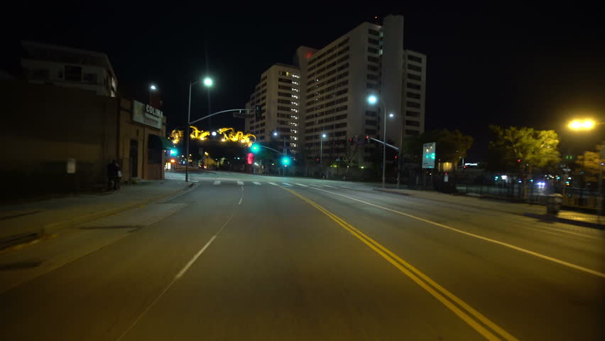 Driving Plates LA Chinatown Night 02 Rear View Broadway West bound at Cesar Chavez Ave | Shutterstock HD Video #13225763