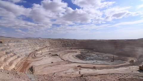 MINE, ANTOFAGASTA, CHILE - A wide angle shot shows a open pit mine in Antofagasta, Chile. - Antofagasta, Chile, July, 2014