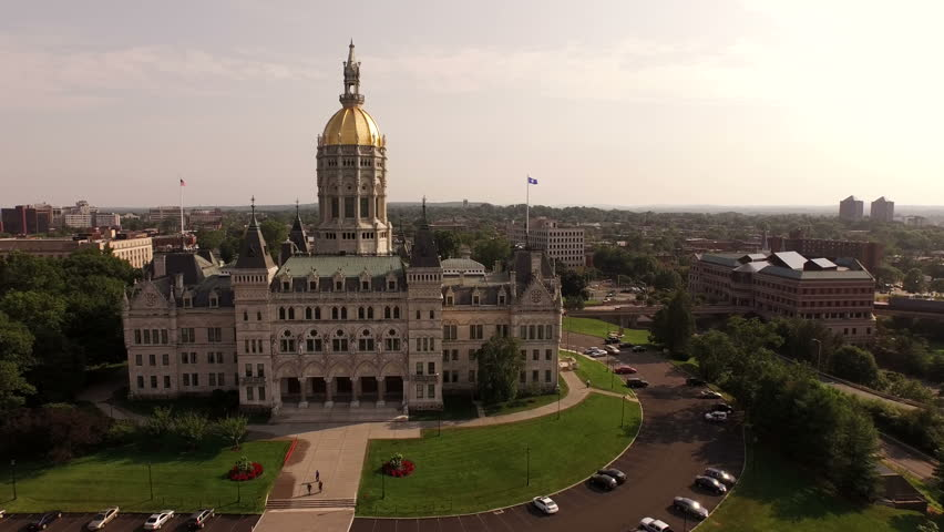 Hartford Aerial v14 Flying low towards and past State Capitol building.