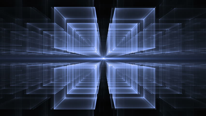 Blue cubes  in perspective-Dynamic translucent cubes rotating in space on black background stretching off to infinity, fantasy geometrical horizon, abstract illustration, animation,  seamless loop  | Shutterstock HD Video #13269833