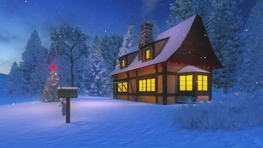 illuminated christmas tree and rustic house with smoking chimney at snowfall night - Snowfall Christmas Lights