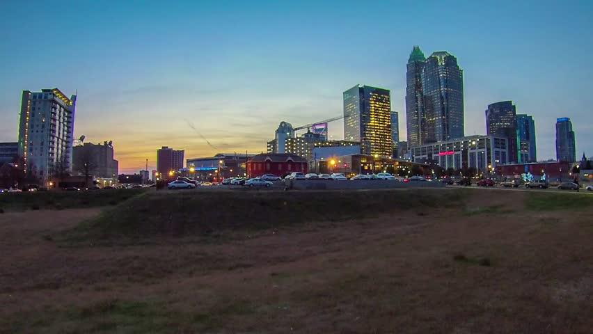 Sunset and sunrise over charlotte city skyline north carolina