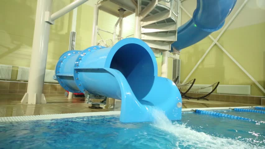 indoor pools with slides number of water slides with kids rushing down stock footage video
