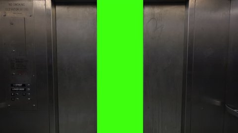 Elevator doors open and close to reveal a green screen for your custom content.