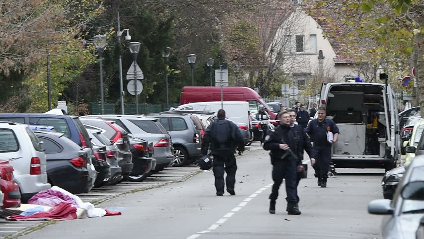STRASBOURG, FRANCE - NOV 19, 2015: French police inspecting zone after a suspicious package allegedly containing a bomb near EU Parliament & CoE after attacks in Paris
