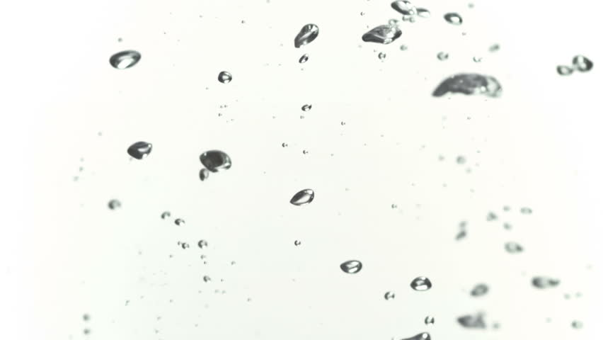 Bubbles moving to a surface in slowmotion filmed at 1000fps