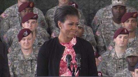 CIRCA 2010s - President Barack Obama honors the troops at a speaking engagement in Ft. Bragg, North Carolina.